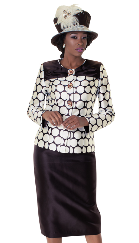 Tally Taylor 4602-IV-IH ( 2pc Two Tone Skirt Suit With Rhinestone Buttons And Unique Circle Print )