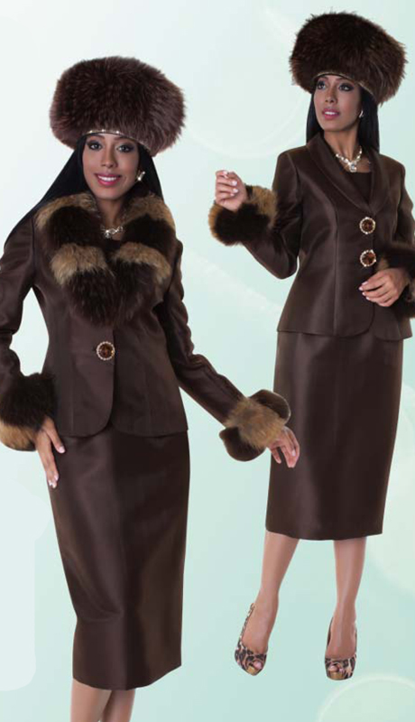 Tally Taylor 4603-CHO-IH ( 3pc Skirt Suit With Jeweled Button And Detachable Real Fur On Jacket )