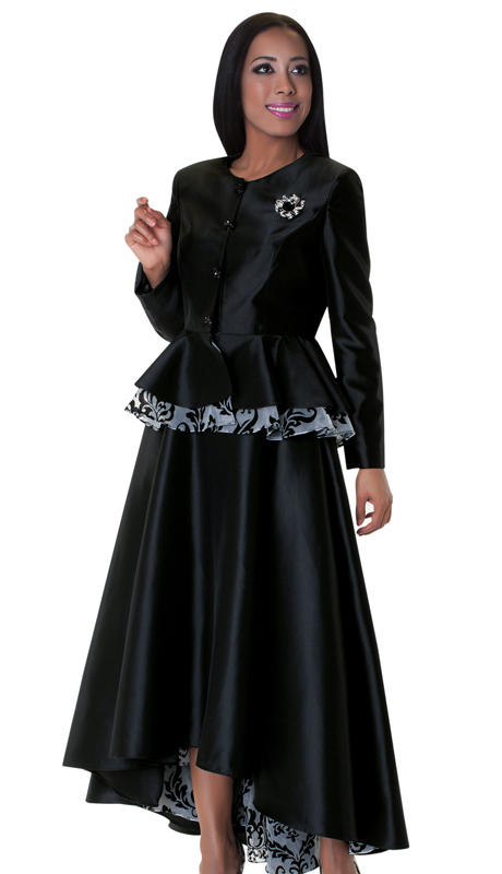 Tally Taylor 4599-BLK-IH ( 2pc Skirt Suit With Rhinestone Buttons Asymmetrical Skirt And Beautiful Barocco Print On Lining )