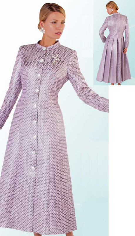 Tally Taylor 4500-PU ( 1pc Shiny Brocade Womens Robe with Pleat Detail On Back, Rhinestone Buttons And Detachable Brooch )