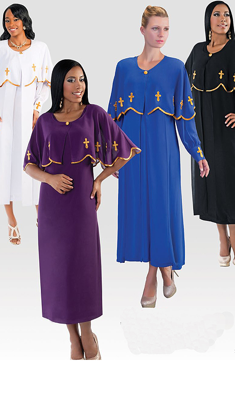 Tally Taylor 3257 ( 3pc Georgette Womens Sunday Dress With Gold Trim And Cross Motif )