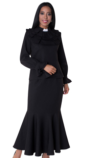 Tally Taylor 4601-BLK-IH ( 2pc Skirt Set With Ruffled Collar And Mermaid Skirt )