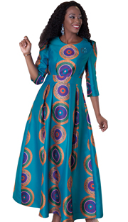 Tally Taylor 4497-BLU ( 1pc Dress With Rhinestone Brooch Silk Look Fabric )