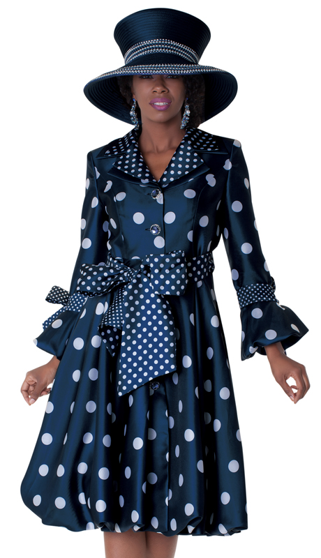 Tally Taylor 4592-NW ( 1pc Silk Look Church Dress Multi Polka Dots Dress With Tailored Collar And Three Quarter Sleeves )
