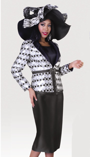 Tally Taylor 4442-PL-IH ( 3pc Silk Look Womens Sunday Suit With Diamond Pattern Print On Jacket With Cami And Skirt )