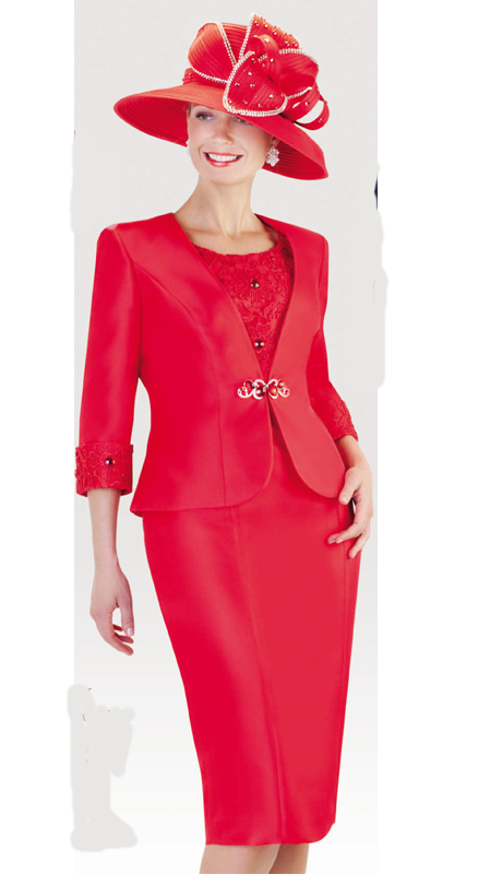 Tally Taylor 4436-R ( 2pc Silk Look Womens Sunday Suit With Lace Detail Jacket, Teardrop Rhinetsone Clasp And Skirt ) )