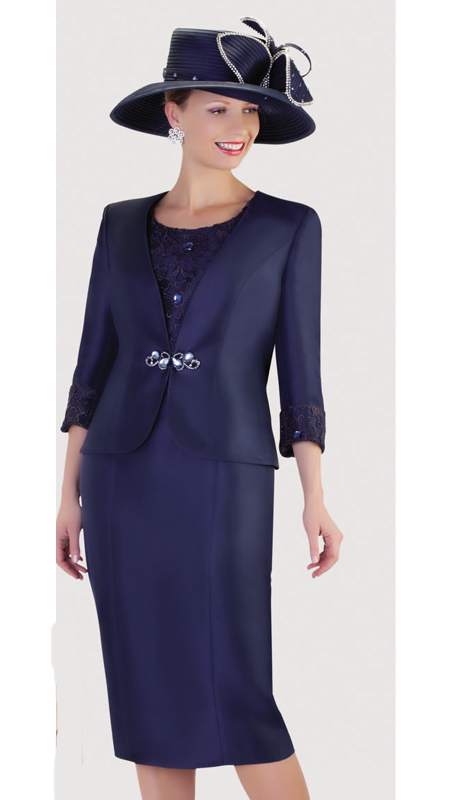 Tally Taylor 4436-NA ( 2pc Silk Look Womens Sunday Suit With Lace Detail Jacket, Teardrop Rhinetsone Clasp And Skirt ) )