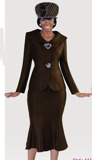 Tally Taylor 4435-DK-IH ( 2pc Silk Look Womens Sunday Suit With Shawl Collar Jacket And Trumpet Skirt )