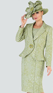 Tally Taylor 4510 ( 2pc Jacqard Womens Sunday Suit With Rhinestone Buckle And Tonal Floral Pattern )