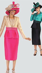 Taylor Taylor 4503 ( 2pc Silk Look Womens Sunday Suit With Rhinestone And Lace Details, Two Tone Color Blocking Jacket And Skirt )
