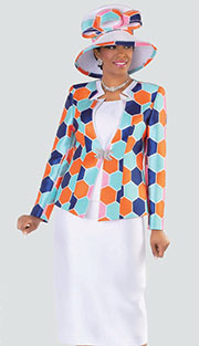 Tally Taylor 4504 ( 3pc Silk Look Womens Sunday Suit With Rhinestone Buckle And Honeycomb Pattern Print Jacket With Cami And Skirt )