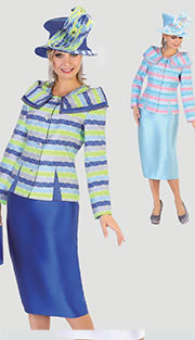 Tally Taylor 4508 ( 2pc Silk Look Womens Sunday Suit With Rhinestone Buttons And Quilt Pattern Jacket With Skirt )
