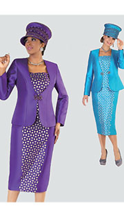 Tally Taylor 4512 ( 3pc Silk Look Womens Sunday Suit With Rhinestone Buckle And Laser Cut Geometric Pattern )