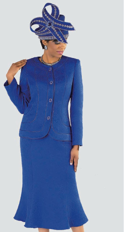 Tally Taylor 4520-CO ( 2pc Jacquard Ladies Church Suit With Rhinestone Buttons And Light Floral Pattern Jacket And Skirt )