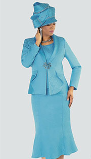 Tally Taylor 4506-BLU ( 3pc Jacquard Womens Sunday Suit With Light Toanl Flower Pattern And Rhinestone Clasp On Jacket With Cami And Skirt )