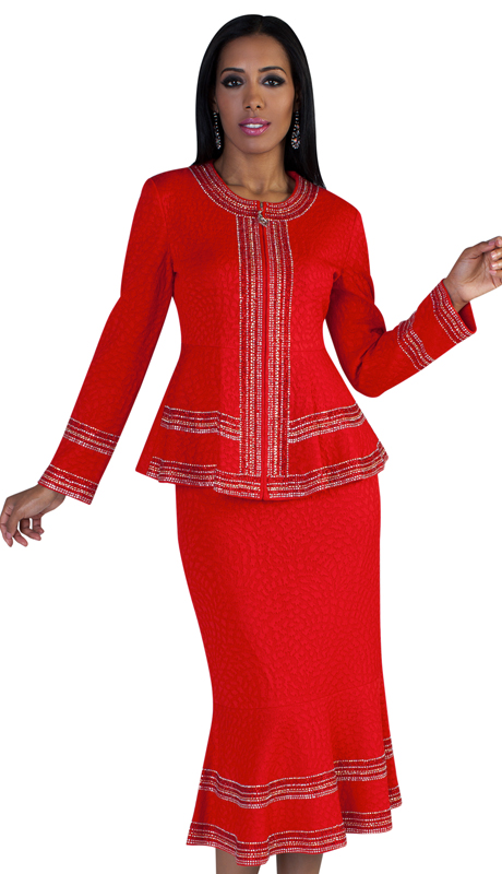 LO7216 (2pc Ladies Church Knit Suit With Geometric Stone Inlays Throughout )