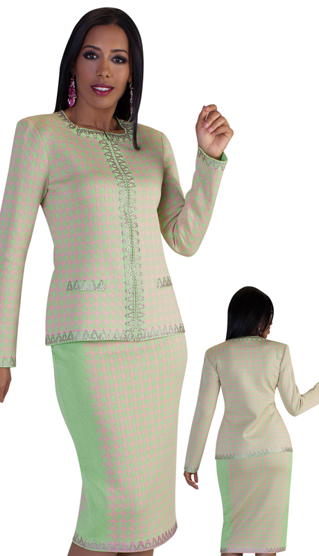 LO7139-LP-CO ( 2pc Womens Knit Suit For Church With Abstract Patterning And Woven Details On Sleeves And Trims )