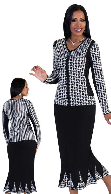 Kayla By Tally Taylor 5199 ( 2pc Womens Knit Church Suit With Striking Hounds Tooth Pattern )