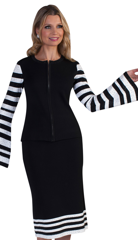 Kayla By Tally Taylor 5200-BW ( 2pc Womens Knit Church Suit With Bold, Modern Striping, Rhinestone Trim And Rhinestone Adorned Flared Sleeves )