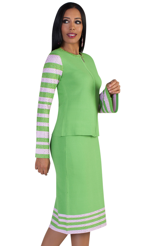 Kayla By Tally Taylor 5200-LP ( 2pc Womens Knit Church Suit With Bold, Modern Striping, Rhinestone Trim And Rhinestone Adorned Flared Sleeves )