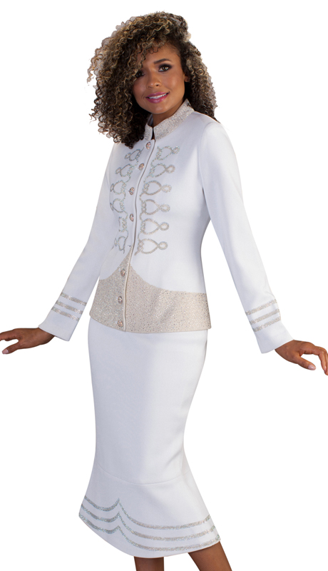 LO7232-WG-CO ( 2pc Womens Knit Suit For Church With Woven Gold Detailing And Gold Accents )