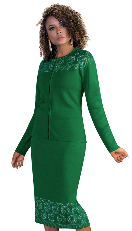 Kayla By Tally Taylor 5197 ( 2pc Womens Knit Skirt Suit For Church With Circular Rhinestone Inlay Design )