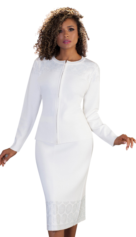 Kayla By Tally Taylor 5197-W ( 2pc Womens Knit Skirt Suit For Church With Circular Rhinestone Inlay Design )
