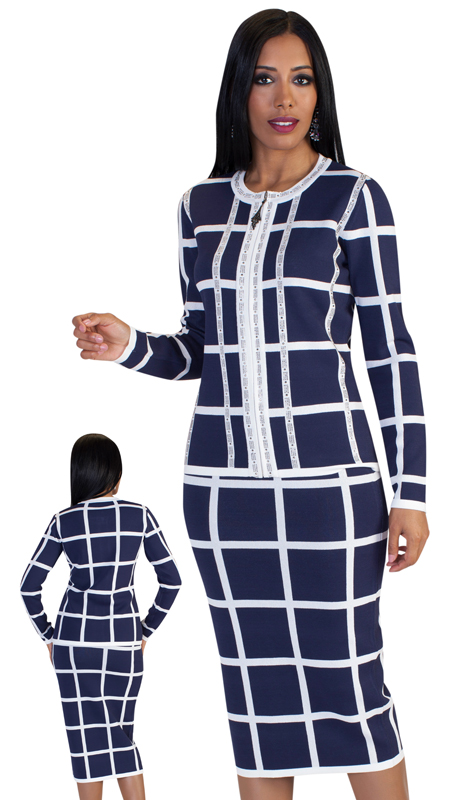 Kayla By Tally Taylor 5198-CO ( 2pc Ladies Knit Suit For Church With Bold Gridded Pattern Studded With Rhinestones )