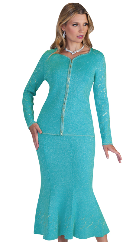 Kayla By Tally Taylor 5194 ( 2pc Ladies Knit Suit For Church With Subtle Rhinestone Inlays )