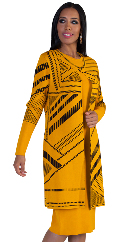 Kayla By Tally Taylor 5147 ( 2pc Womens Knit Church Suit With Bold Geometric Design )