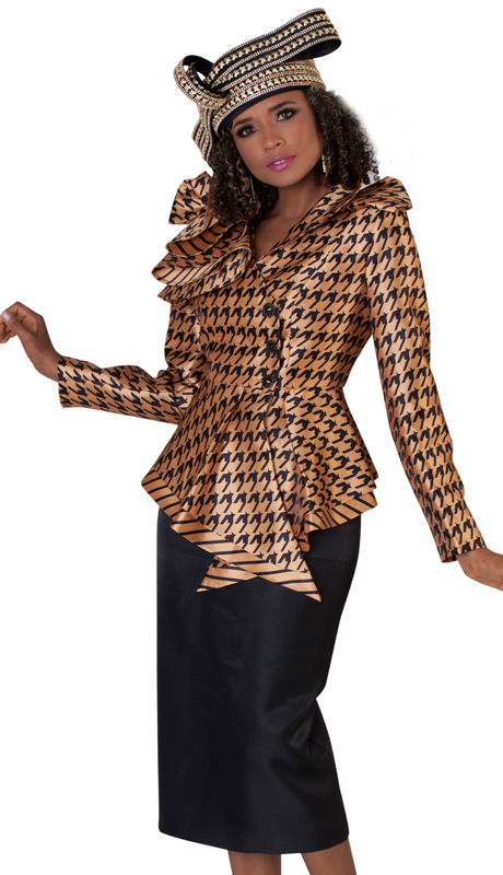 Tally Taylor 4645 ( 2pc First Ladies Silk Church Suit With Houndstooth Patterned Jacket, Striped Trim, And Beautiful Ruffled Collar )