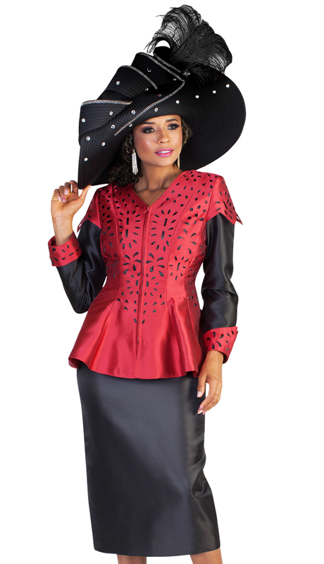 Tally Taylor 4647 ( 2pc Two Tone Silk Ladies Church Suit With Cut Out Pattern On Jacket And Roll Up Sleeves )