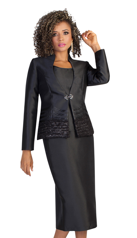 Tally Taylor 4643 ( 3pc Ladies Silk Look Suit For Sunday With Elegant Clasp And Shimmering Sequence Design )