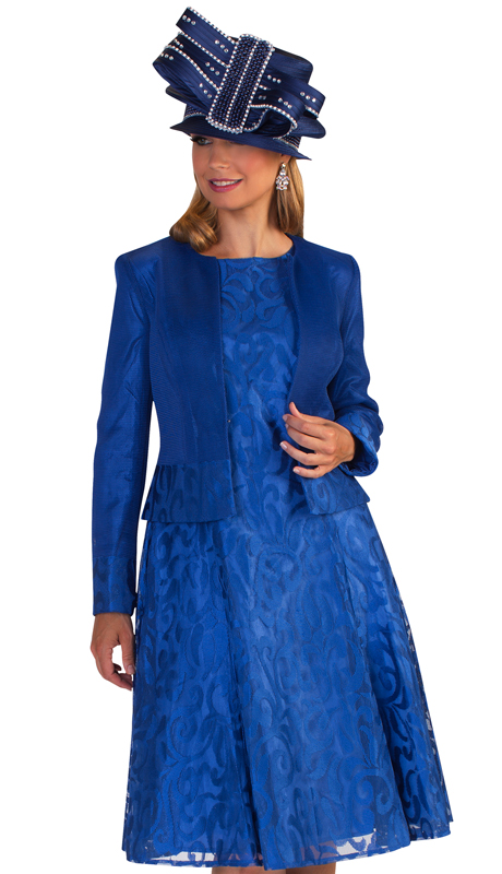 Tally Taylor 4644-N ( 2pc First Ladies Novelty Church Dress With Subtle Natural Inspired Design On Dress And Jacket )