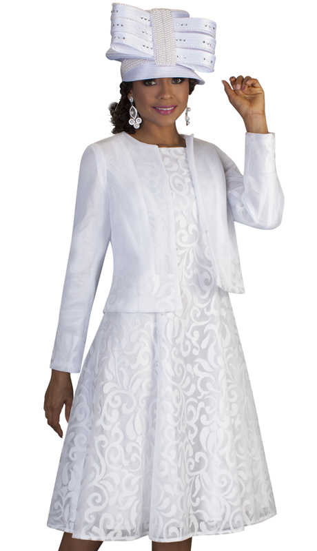 Tally Taylor 4644-W ( 2pc First Ladies Novelty Church Dress With Subtle Natural Inspired Design On Dress And Jacket )