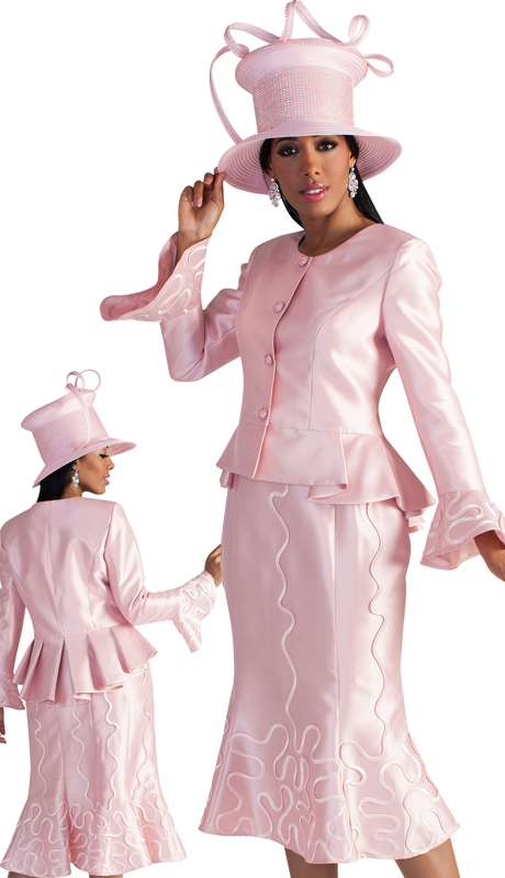 Tally Taylor 4639-DR ( 2pc First Ladies Silk Suit For Sunday With Flare Sleeves And Abstract Patterning On Skirt And Sleeves )