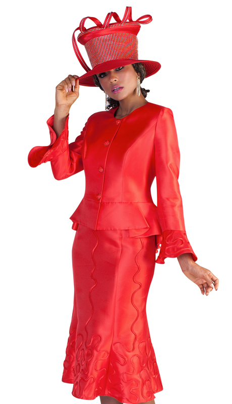 Tally Taylor 4639-L ( 2pc First Ladies Silk Suit For Sunday With Flare Sleeves And Abstract Patterning On Skirt And Sleeves )