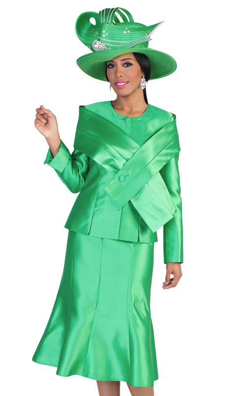 Tally Taylor 4636-E ( 2pc Womens Silk Look Suit For Church With Detachable Portrait Shrug, Sleek Design, And Pleated Skirt )