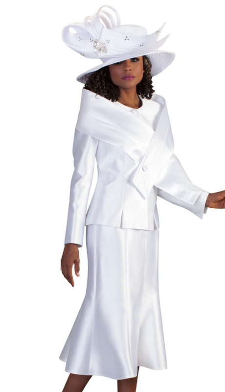 Tally Taylor 4636-W ( 2pc Womens Silk Look Suit For Church With Detachable Portrait Shrug, Sleek Design, And Pleated Skirt )
