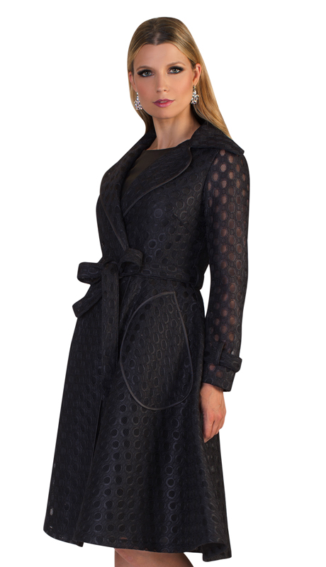 Tally Taylor 4638-BLK ( 2pc Womens Novelty Church Dress With Laser Cut Out Design On Jacket And Waist Tie )