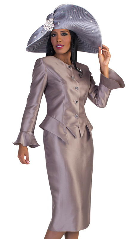 Tally Taylor 4633-G ( 2pc Womens Silk Church Suit With Flare Sleeves, Rhinestone Buttons, And Sparkling Stone Pin )
