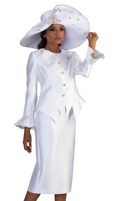 Tally Taylor 4633-W ( 2pc Womens Silk Church Suit With Flare Sleeves, Rhinestone Buttons, And Sparkling Stone Pin )
