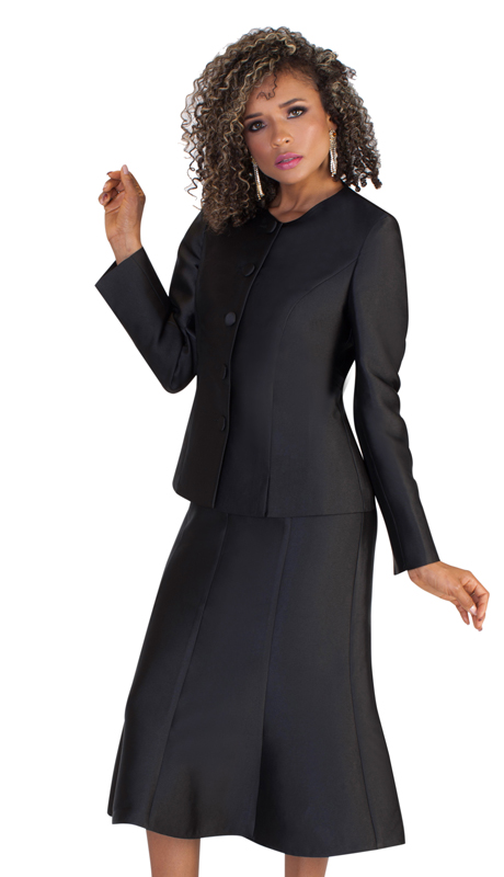 Tally Taylor 4636-BLK-IM ( 2pc Womens Silk Look Suit For Church With Detachable Portrait Shrug, Sleek Design, And Pleated Skirt )