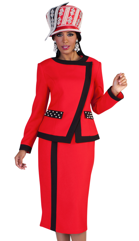 Tally Taylor 4627-RB ( 2pc First Ladies Scuba Knit Church Suit With Two Tone Stripe Design And Studded Pockets )