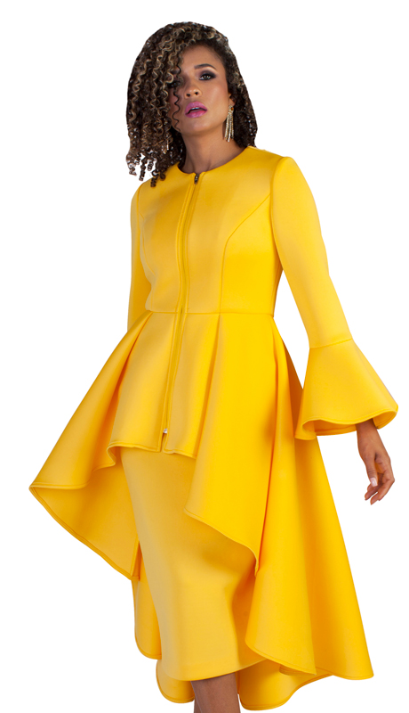 Tally Taylor 4629-M ( 2pc Ladies Scuba Knit Church Suit With Elegant High Low Jacket And Bell Sleeves )