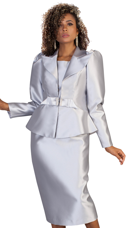 Tally Taylor 4624-S-IM ( 3pc Womens Silk Sunday Suit With Elegant Collar And Rhinestone Studded Tie At Waist )