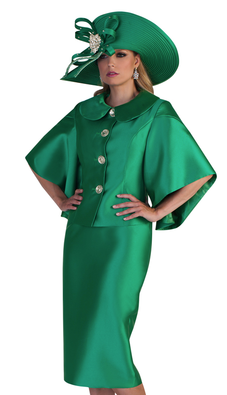 Tally Taylor 4625-E ( 2pc Womens Silk Look Suit For Church With Classy Collar, Beautiful Rhinestone Buttons, And Loose Elbow Length Sleeves )