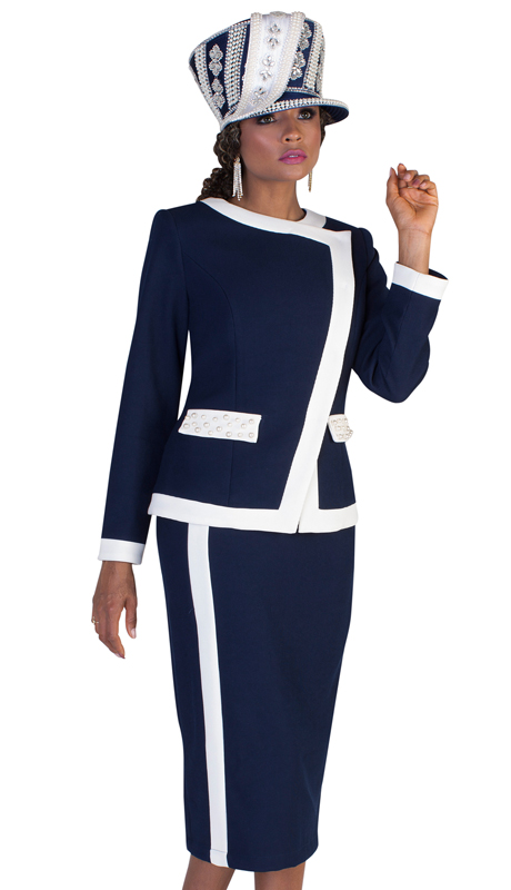 Tally Taylor 4627 ( 2pc First Ladies Scuba Knit Church Suit With Two Tone Stripe Design And Studded Pockets )