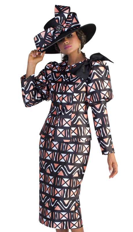 Tally Taylor 4622 ( 2pc Ladies Novelty Church Suit With Detachable Bow, And Intricate Geometric Design )