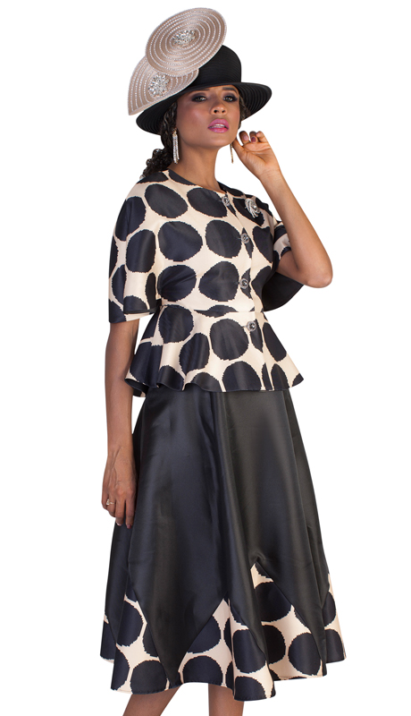 Tally Taylor 4623 - IM ( 2pc Womens Silk Church Suit With Bold Polka Dot Top And Trim On Skirt )